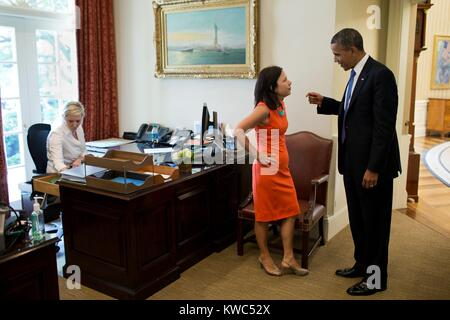 President Barack Obama with Nancy-Ann DeParle, Deputy Chief of Staff for Policy. June 28, 2012. She was White House - Stock Photo