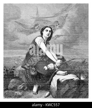 'The Maid of Orleans', vintage engraving: portrait of Joan of Arc heroine of France as peasant receiving vision - Stock Photo