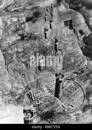 Eight U.S. Air Force bombs drop to Bruchsal, Germany, and important rail center. World War 2, March 1, 1945 (BSLOC - Stock Photo
