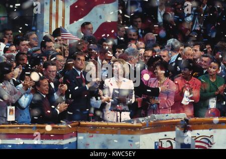 1996 Democratic National Convention in Chicago, Aug. 26-29. President Bill Clinton, Hillary Clinton, Vice President - Stock Photo