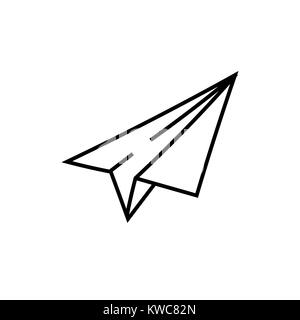 Paper airplane vector sketch icon - Stock Photo