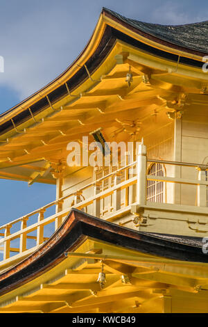 Detail of shariden at Rokuon-ji, commonly known as the Golden Pavilion (Kinkakuji) Located in Kyoto, Japan - Stock Photo