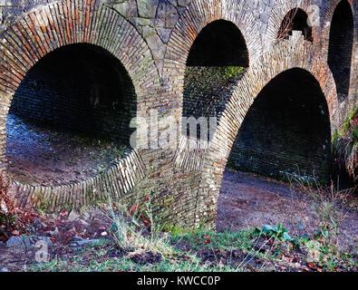An abstract view of the seven arch bridge in Rivington gardens,  at Rivington Pike - Stock Photo