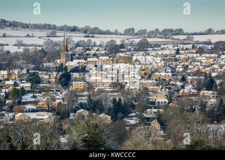 The picturesque village of Painswick in the Cotswolds after a snowfall, Gloucestershire, UK - Stock Photo