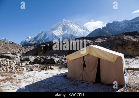 Mounts Everest and Lothse, way to Everest base camp - Stock Photo