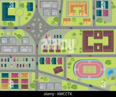 Urban city top view. Streets, houses and buildings, roads, crossroads, park, parking and stadium. View from above - Stock Photo