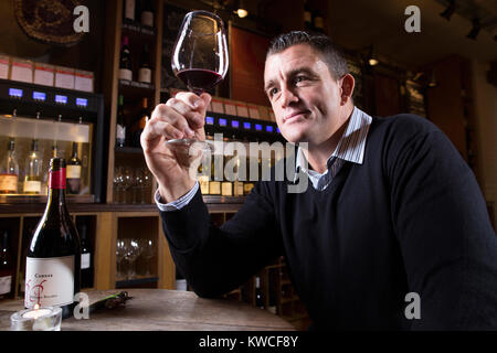 Andrew Sheridan, former England prop in world rugby, now holder of Wine and Spirit Education Trust Diploma, photographed - Stock Photo