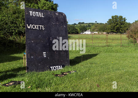Village cricket being played near Dunsford,Dartmoor,Teign Valley,public footpath sign with rainbow,public right - Stock Photo