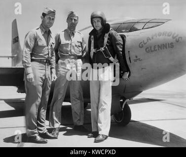 Test Pilots Capt. Charles E. Yeager, Major Gus Lundquist, and Capt. James Fitzgerald. They flew the supersonic Bell - Stock Photo