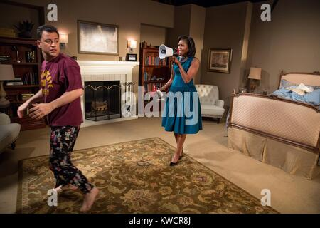 First Lady Michelle Obama tapes a skit with Jimmy Kimmel prior to their appearance for 'Jimmy Kimmel Live!' at the - Stock Photo