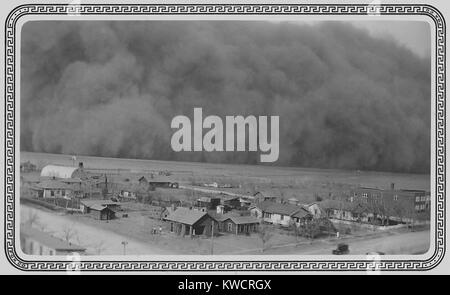 Dust Storm in Rolla, Kansas. May 6, 1935. The photo was sent to President Franklin Roosevelt this note, 'Dear Mr. - Stock Photo