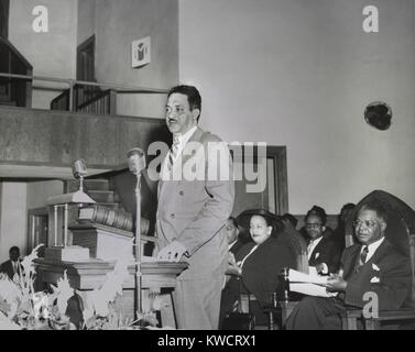 Thurgood Marshall, speaking at NAACP Conference in Dallas March 24-26, 1950. He spoke about the Sweatt and McLaurin - Stock Photo