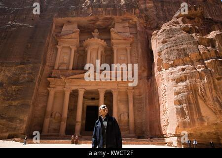 President Barack Obama near the Treasury at the ancient city of Petra in Jordan. March 23, 2013. Al-Khazneh (The - Stock Photo
