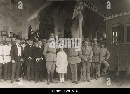 World War 1 in the Middle East. German General Erich von Falkenhayn with Turkish Commander, Cemal Pasha in Jerusalem. - Stock Photo
