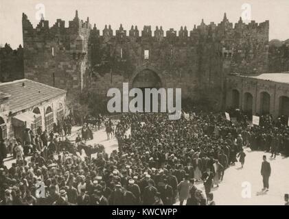 Arab anti-Zionist demonstration Damascus Jaffa Gate in Jerusalem on the March 8, 1920 (BSLOC_2017_1_191) - Stock Photo
