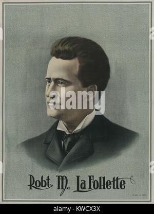 Poster of Robert M. La Follette, probably made during his successful run for Governor of Wisconsin. He won the 1900 - Stock Photo