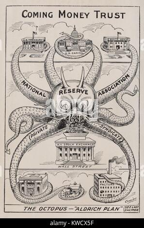 THE OCTOPUS-ALDRICH PLAN, THE COMING MONEY TRUST. 1912 cartoon by Alfred Owen Crozier, who opposed the re-establishment - Stock Photo