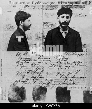 Police record of Joseph Stalin from the files of the Czarist secret police in St. Petersburg, 1908. Dzhugashvili - Stock Photo