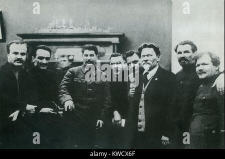 Stalin photographed with high Soviet officials, in March 1929. L-R: Vyacheslav Molotov, Anastas Mikoyan, Josef Stalin, - Stock Photo