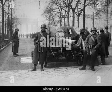 Forces of the Kapp Putsch of March 1920 against the German Weimer Republic government in Berlin. They were followers - Stock Photo