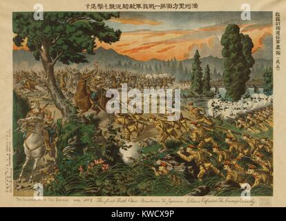 The Japanese in a battle near Manchuria, with Russian soldiers. Ca. 1920-22. (BSLOC_2013_1_17) - Stock Photo