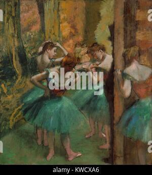 ballet dancers by edgar degas, oil on canvas, c.1890 1900