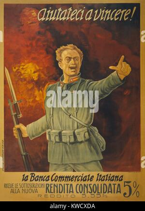 Italian World War 1 bond poster. Standing in front of a wall of fire, and Italian soldier with a bayoneted rifle - Stock Photo