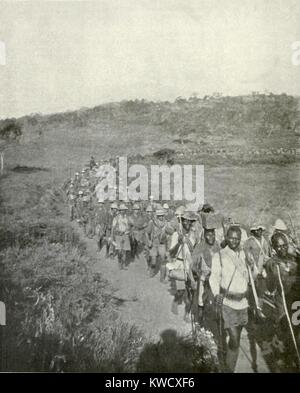 World War 1 in East Africa. British and Empire African soldiers on the march in 1917. They captured 2000 German - Stock Photo
