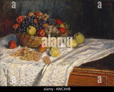 Apples and Grapes, by Claude Monet, 1879–80, French impressionist painting, oil on canvas. In painting this basket - Stock Photo
