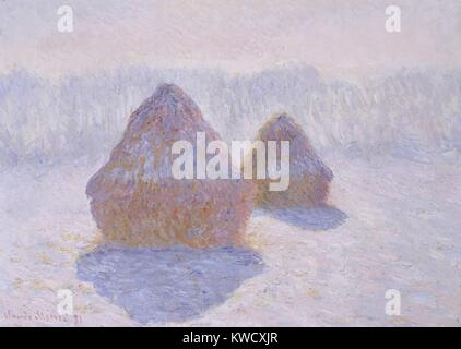 Haystacks (Effect of Snow and Sun), by Claude Monet, 1891, French impressionist oil painting. Between 1890 and 1891 - Stock Photo