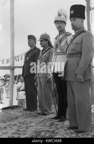 King Abdullah I on his coronation day in Amman, Jordan, May 25, 1946. R-L: King Abdullah I; Emir Abdul Illah, Regent - Stock Photo