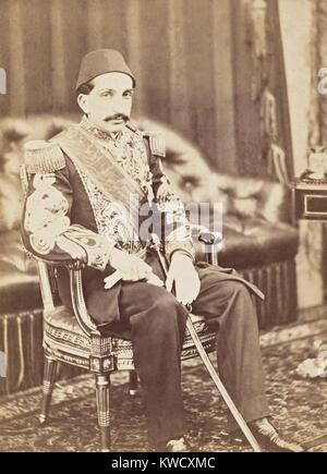 Ottoman Prince Abdul Hamid, traveled to Europe with his uncle, Sultan Abdulaziz, in 1867. This portrait was taken - Stock Photo