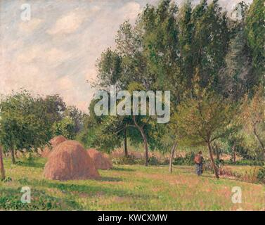 Haystacks, Morning, Eragny, by Camille Pissarro, 1899, French impressionist painting, oil on canvas. The artist - Stock Photo