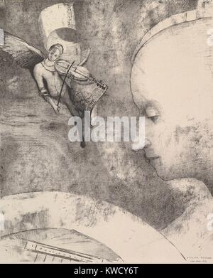 The Celestial Art, by Odilon Redon, 1894, French Symbolist print, lithograph. Anticipating Surrealism, Redons lithograph - Stock Photo