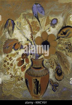Etruscan Vase with Flowers, by Odilon Redon, 1900-10, French Symbolist painting, tempera on canvas. The bouquet - Stock Photo