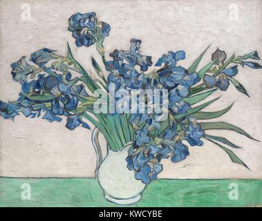 Irises, by Vincent Van Gogh, 1890, Dutch Post-Impressionist, oil on canvas. The paintings original pink background - Stock Photo