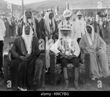 King Saud and Talal bin Abdullah (Emir Abdullahs son and future King Talal I) in Ammon, Jordan. In 1932, Saud consolidated - Stock Photo