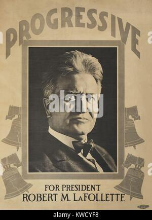 Robert M. La Follette, Progressive Party campaign poster for the 1924 Presidential election. (BSLOC_2017_2_141) - Stock Photo
