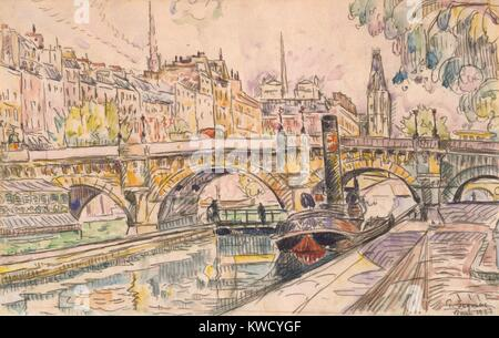 Tugboat at the Pont Neuf, Paris, by Paul Signac, 1923, French Post-Impressionist, watercolor painting. Signac applied - Stock Photo