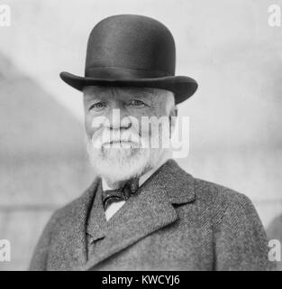 Andrew Carnegie on return from his annual visit to Europe, NYC, Oct. 17, 1913. (BSLOC_2017_2_179) - Stock Photo