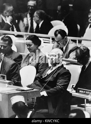 Nikita Khrushchev, leader of the Soviet Russia at the United Nations General Assembly, NYC, Sept. 22, 1960. 1960 - Stock Photo