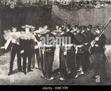 Execution of the Emperor Maximilian, by Edouard Manet, 1868, French Impressionist lithograph print. The Hapsburg - Stock Photo