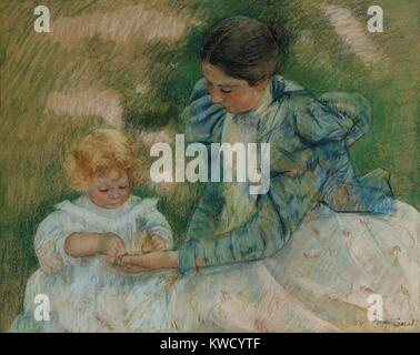 Mother Playing with Child, by Mary Cassatt, 1897, Impressionist pastel painting, on paper. The figures are set in - Stock Photo