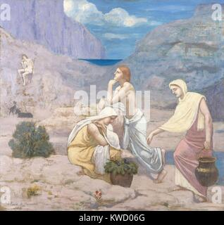 The Shepherds Song, by Pierre Puvis de Chavannes, 1891, French Romantic/Symbolist oil painting. The artist adapted - Stock Photo
