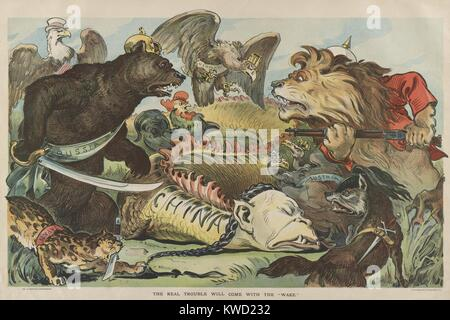 American cartoon published in PUCK Magazine during the 1900 Chinese Boxer Rebellion. Animals represent the international - Stock Photo