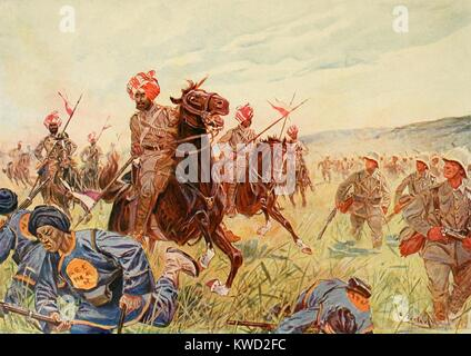 Mounted Bengal Lancers and German Marine Infantry fighting on the march to Beijing, August 1900. Indian Bengal Lancers - Stock Photo