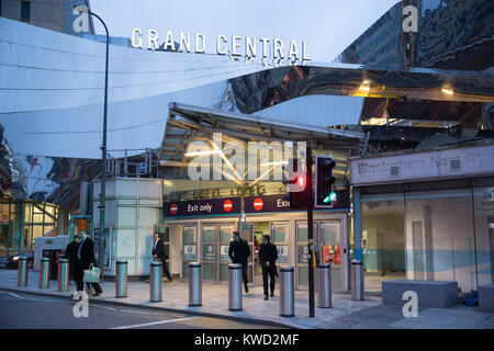 The entrance to Grand Central Railway Station from navigation Street, also known as New Street Station Birmingham, - Stock Photo