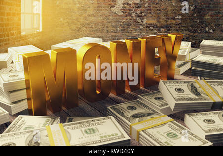 Pile of dollar money with golden money letters, 3D rendering - Stock Photo