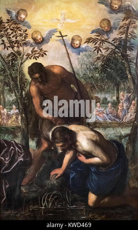 The Baptism of Christ by Domenico Tintoretto, (1560-1635), oil on canvas, c.1585 - Stock Photo