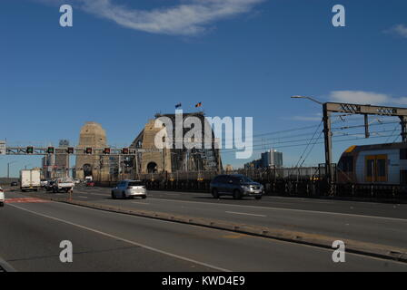 Sydney, Australia - July 4, 2017: Cars on the Cahill Express Way at Harbour Bridge - Stock Photo